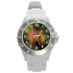 Abstract Brush Strokes In A Floral Pattern  Round Plastic Sport Watch (l) by Simbadda