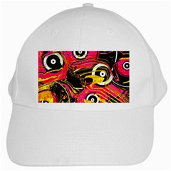 Abstract Clutter Pattern Baffled Field White Cap by Simbadda