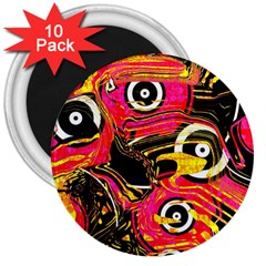 Abstract Clutter Pattern Baffled Field 3  Magnets (10 Pack)  by Simbadda