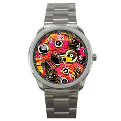 Abstract Clutter Pattern Baffled Field Sport Metal Watch by Simbadda