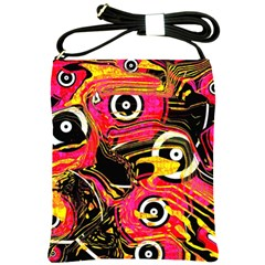 Abstract Clutter Pattern Baffled Field Shoulder Sling Bags by Simbadda