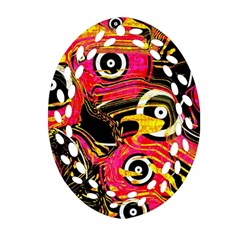 Abstract Clutter Pattern Baffled Field Oval Filigree Ornament (two Sides) by Simbadda