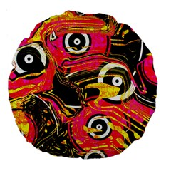 Abstract Clutter Pattern Baffled Field Large 18  Premium Round Cushions by Simbadda