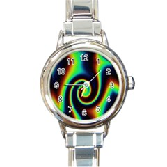 Background Colorful Vortex In Structure Round Italian Charm Watch by Simbadda