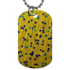 Abstract Gold Background With Blue Stars Dog Tag (one Side) by Simbadda