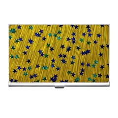 Abstract Gold Background With Blue Stars Business Card Holders by Simbadda