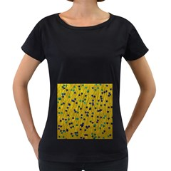 Abstract Gold Background With Blue Stars Women s Loose Fit T Shirt (black) by Simbadda