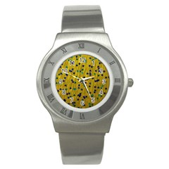 Abstract Gold Background With Blue Stars Stainless Steel Watch by Simbadda