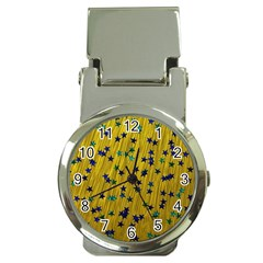Abstract Gold Background With Blue Stars Money Clip Watches by Simbadda