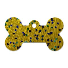 Abstract Gold Background With Blue Stars Dog Tag Bone (two Sides) by Simbadda