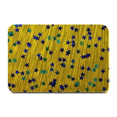 Abstract Gold Background With Blue Stars Plate Mats by Simbadda