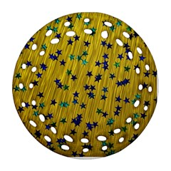 Abstract Gold Background With Blue Stars Round Filigree Ornament (two Sides)