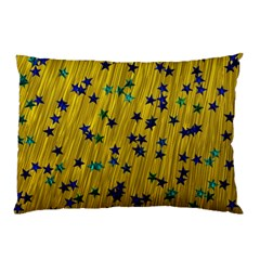 Abstract Gold Background With Blue Stars Pillow Case (two Sides) by Simbadda