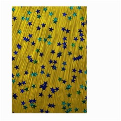 Abstract Gold Background With Blue Stars Large Garden Flag (two Sides) by Simbadda