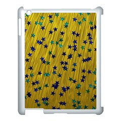 Abstract Gold Background With Blue Stars Apple Ipad 3/4 Case (white) by Simbadda