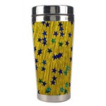 Abstract Gold Background With Blue Stars Stainless Steel Travel Tumblers Right