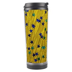 Abstract Gold Background With Blue Stars Travel Tumbler by Simbadda