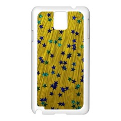 Abstract Gold Background With Blue Stars Samsung Galaxy Note 3 N9005 Case (white) by Simbadda