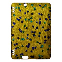 Abstract Gold Background With Blue Stars Kindle Fire Hdx Hardshell Case by Simbadda