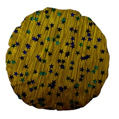 Abstract Gold Background With Blue Stars Large 18  Premium Flano Round Cushions by Simbadda