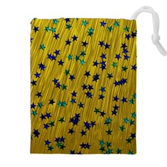 Abstract Gold Background With Blue Stars Drawstring Pouches (xxl) by Simbadda