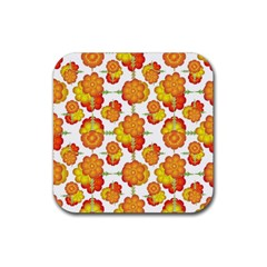 Colorful Stylized Floral Pattern Rubber Coaster (square)  by dflcprints