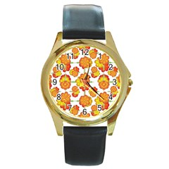 Colorful Stylized Floral Pattern Round Gold Metal Watch by dflcprints