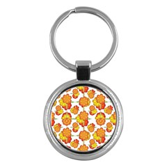 Colorful Stylized Floral Pattern Key Chains (round)  by dflcprints