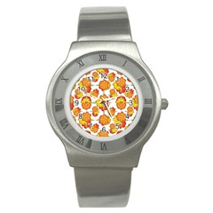 Colorful Stylized Floral Pattern Stainless Steel Watch by dflcprints