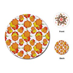 Colorful Stylized Floral Pattern Playing Cards (round)  by dflcprints