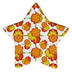 Colorful Stylized Floral Pattern Star Ornament (two Sides) by dflcprints