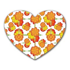 Colorful Stylized Floral Pattern Heart Mousepads by dflcprints