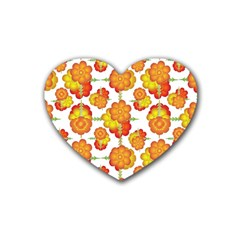 Colorful Stylized Floral Pattern Heart Coaster (4 Pack)  by dflcprints