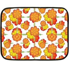 Colorful Stylized Floral Pattern Fleece Blanket (mini) by dflcprints