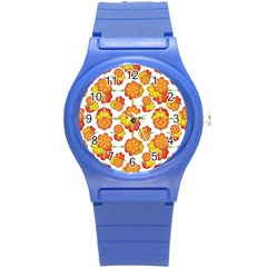 Colorful Stylized Floral Pattern Round Plastic Sport Watch (s) by dflcprints