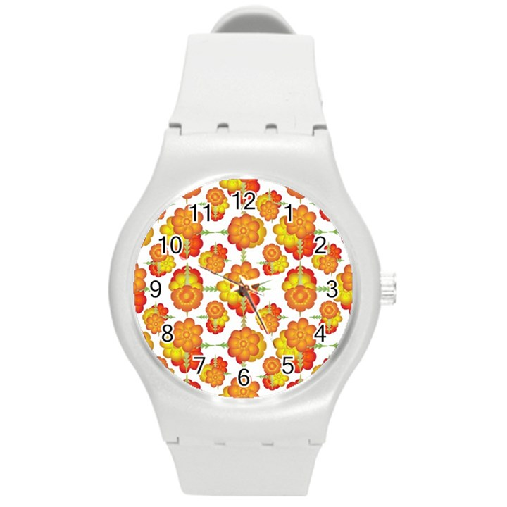 Colorful Stylized Floral Pattern Round Plastic Sport Watch (M)