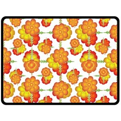 Colorful Stylized Floral Pattern Double Sided Fleece Blanket (large)  by dflcprints