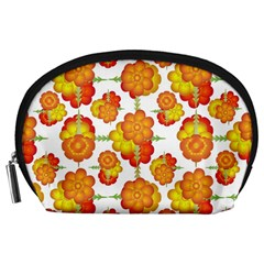 Colorful Stylized Floral Pattern Accessory Pouches (large)  by dflcprints