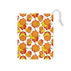 Colorful Stylized Floral Pattern Drawstring Pouches (medium)  by dflcprints
