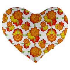 Colorful Stylized Floral Pattern Large 19  Premium Flano Heart Shape Cushions by dflcprints