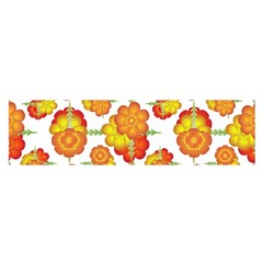 Colorful Stylized Floral Pattern Satin Scarf (oblong) by dflcprints