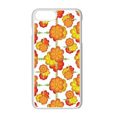 Colorful Stylized Floral Pattern Apple Iphone 7 Plus White Seamless Case by dflcprints