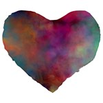 Rainbow Clouds Large 19  Premium Heart Shape Cushion