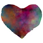 Rainbow Clouds Large 19  Premium Flano Heart Shape Cushion