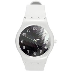 Abstract Pattern Moving Transverse Round Plastic Sport Watch (m) by Simbadda