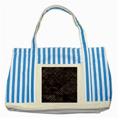 Woven2 Black Marble & Black Watercolor (r) Striped Blue Tote Bag by trendistuff