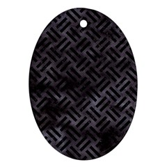 Woven2 Black Marble & Black Watercolor (r) Oval Ornament (two Sides) by trendistuff