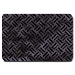 Woven2 Black Marble & Black Watercolor (r) Large Doormat by trendistuff