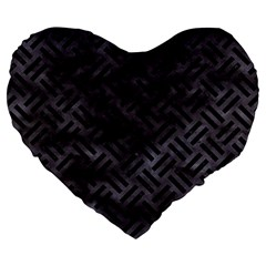 Woven2 Black Marble & Black Watercolor (r) Large 19  Premium Flano Heart Shape Cushion by trendistuff