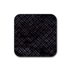 Woven2 Black Marble & Black Watercolor Rubber Square Coaster (4 Pack) by trendistuff